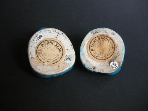 Pair of brush washers  turquoise blue biscuit - Kangxi 1662/1722 - Asian Works of Art Style