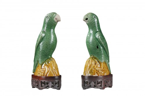 Pair parrots in biscuit - Kangxi period 1662/1722