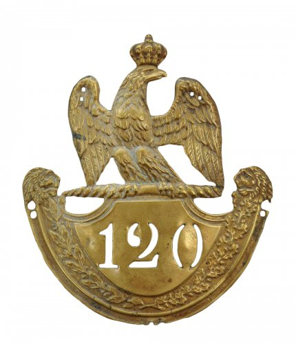 Shako plate of fusilier of the 120th line infantry regiment, model 1812