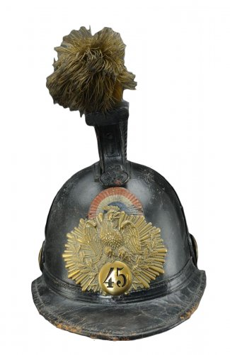Helmet of the 45th line infantry regiment, type 1836, monarchy of july (1836-1837).