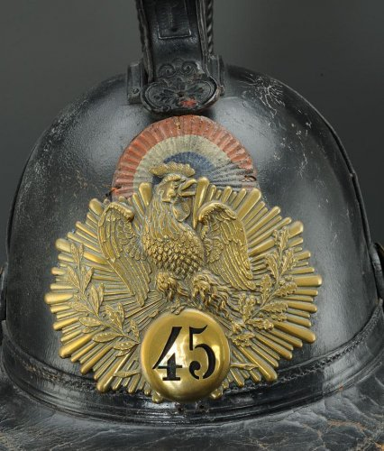 Helmet of the 45th line infantry regiment, type 1836, monarchy of july (1836-1837). - Collectibles Style Louis-Philippe