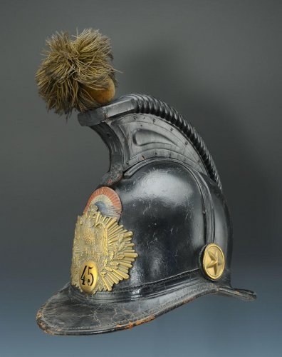 Collectibles  - Helmet of the 45th line infantry regiment, type 1836, monarchy of july (1836-1837).