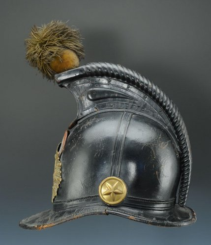 Helmet of the 45th line infantry regiment, type 1836, monarchy of july (1836-1837). -