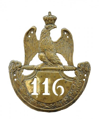 Fusilier Shako Plate Of The 116th Line Infantry Regiment, Model 1812, 1st E