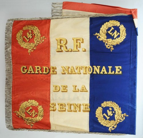 Collectibles  - Flag of the 14th battalion of the national guard of the seine, model 1852, presidency of Louis Napoleon