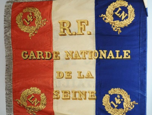 Flag of the 14th battalion of the national guard of the seine, model 1852, presidency of Louis Napoleon - Napoléon III