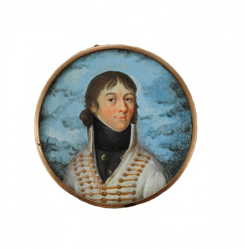 Officier de hussards - Portrait miniature, 1er Empire
