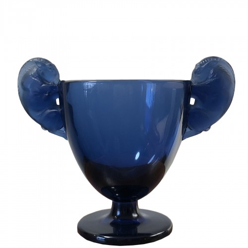1925 Vase Beliers Navy Blue Glass - Rams Design