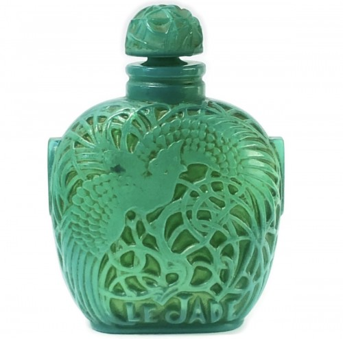 1926 Rene Lalique Perfume Bottle Le Jade for Roger & Gallet Jade Glass