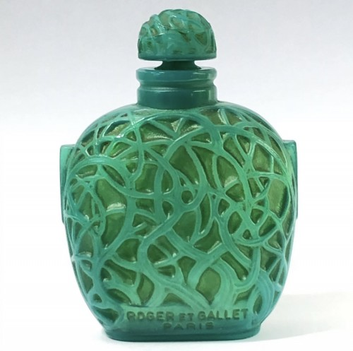 Glass & Crystal  - 1926 Rene Lalique Perfume Bottle Le Jade for Roger & Gallet Jade Glass