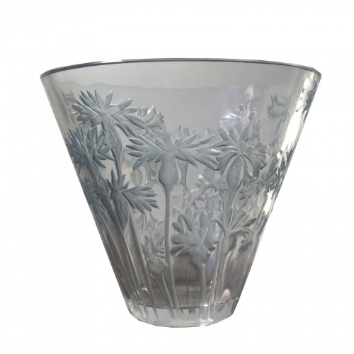 1914 Rene Lalique Bluets Vase in Clear Blue Stained Glass - Flowers