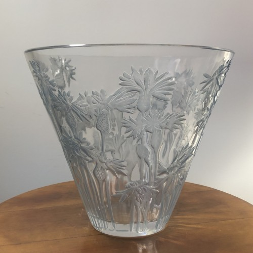1914 Rene Lalique Bluets Vase in Clear Blue Stained Glass - Flowers - Glass & Crystal Style Art Déco