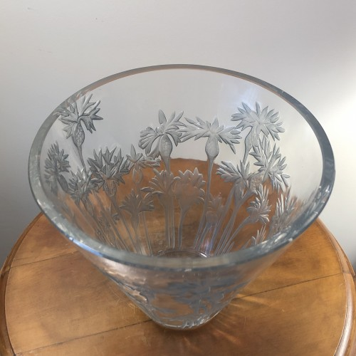 Glass & Crystal  - 1914 Rene Lalique Bluets Vase in Clear Blue Stained Glass - Flowers
