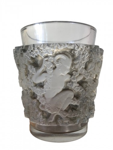 1938 Rene Lalique Bacchus Vase in Frosted Glass with Grey-Brown Stain