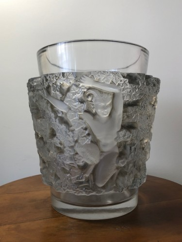 1938 Rene Lalique Bacchus Vase in Frosted Glass with Grey-Brown Stain -