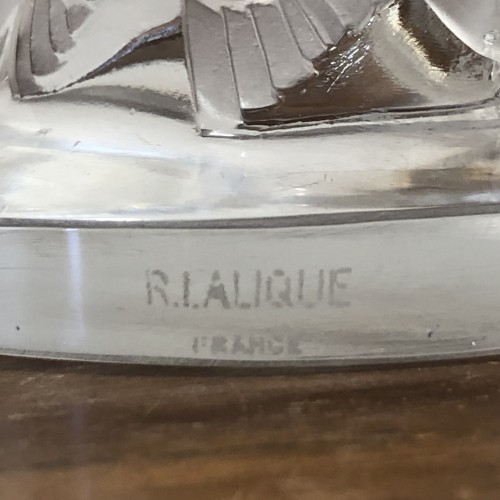 Clocks  - 1931 Rene Lalique Roitelets Clock Clear Glass Enamel Dial Omega Movement