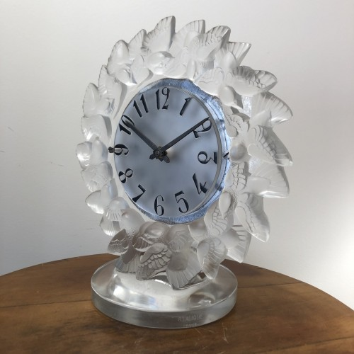 1931 Rene Lalique Roitelets Clock Clear Glass Enamel Dial Omega Movement -
