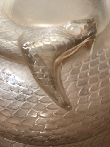Glass & Crystal  - 1924 Rene Lalique Serpent Vase in Frosted Glass with Sepia Patina - Snake