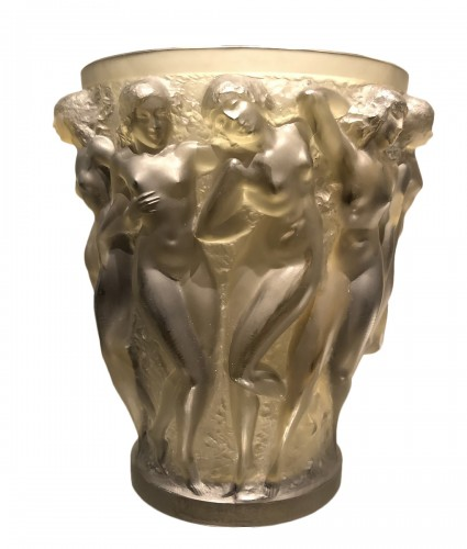 1927 Rene Lalique Bacchantes Vase in Grey Smoked Glass - Dancing Women