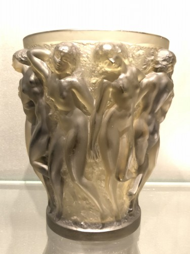 Glass & Crystal  - 1927 Rene Lalique Bacchantes Vase in Grey Smoked Glass - Dancing Women