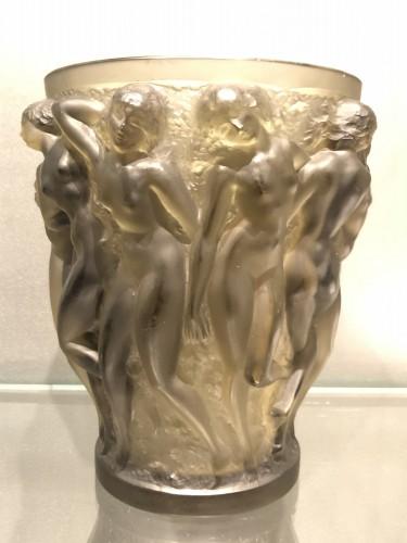 1927 Rene Lalique Bacchantes Vase in Grey Smoked Glass - Dancing Women -