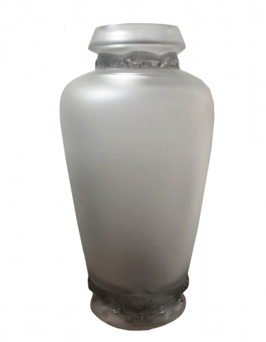1938 Rene Lalique Frise Aigles Vase Frosted Glass with Grey Stain - Eagles