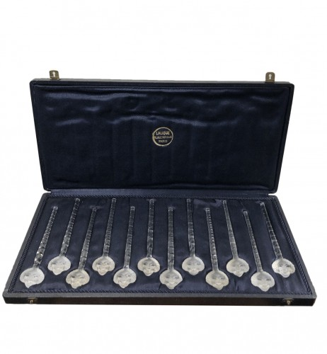 1932 René Lalique Set of 12 Barr Champagne Cocktail Swizzle Sticks in Box