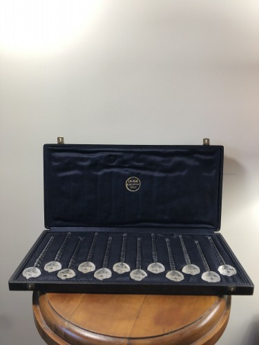 1932 René Lalique Set of 12 Barr Champagne Cocktail Swizzle Sticks in Box -