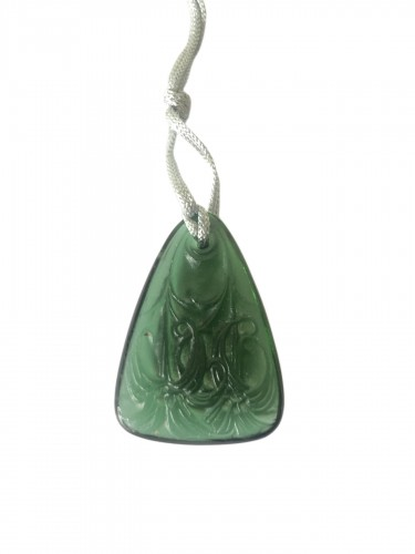 1920 René Lalique Pendentif Lys Vert Green Lilies Pendant