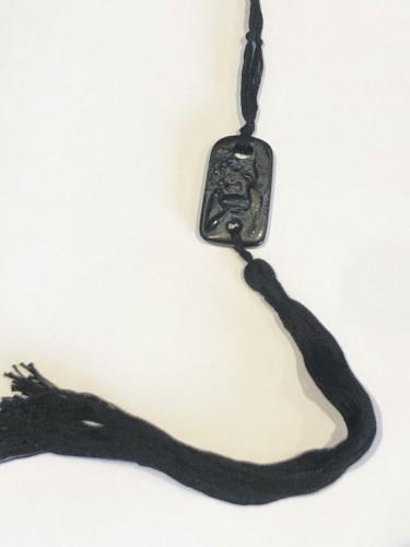 1920 Rene Lalique Pendentif Colombes Noir Black White Stained Doves Pendant - Glass & Crystal Style Art Déco