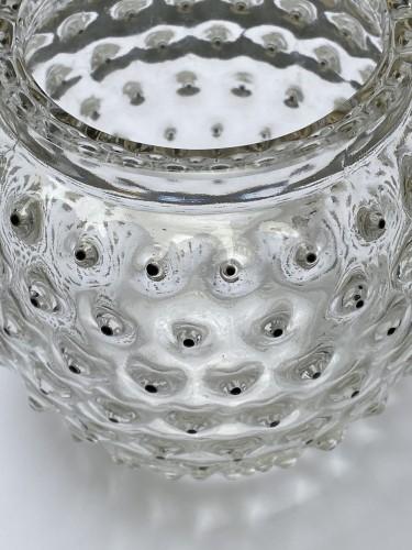 20th century - 1933 Rene Lalique - Vase Cactus clear glass and black enamel