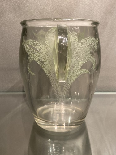 Glass & Crystal  - 1926 Rene Lalique vase Yvelines clear glass with green patina