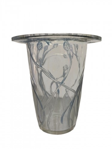 1913 Bordure Bluets Vase Clear Glass Blue Stain
