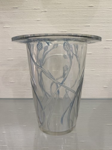 1913 Bordure Bluets Vase Clear Glass Blue Stain - Glass & Crystal Style Art Déco