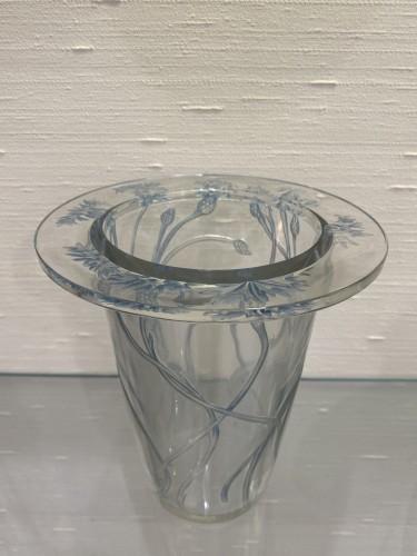 1913 Bordure Bluets Vase Clear Glass Blue Stain -