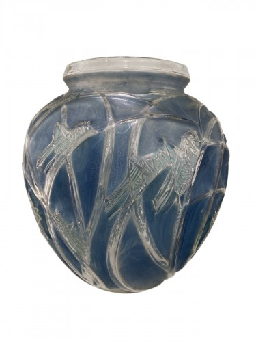 1912 Rene Lalique Sauterelles Vase Original Bleu Green Patina Grasshoppers