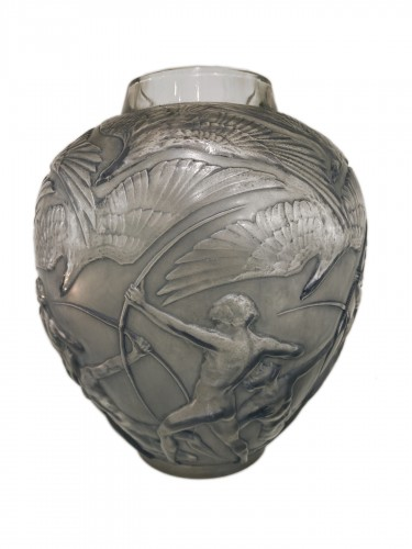 1920 Rene Lalique Archers Vase Frosted Glass with Blue Patina