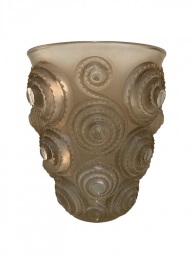 1930 René Lalique Spirales Vase in Clear Glass with Sepia Patina