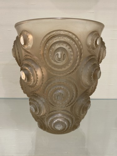 1930 René Lalique Spirales Vase in Clear Glass with Sepia Patina - Glass & Crystal Style Art Déco