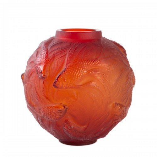 1930 René Lalique Spirales Vase in Red Orangy Glass