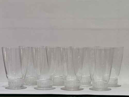 1930 Rene LALIQUE - Orange Set Bambou of 9 Pieces  - Glass & Crystal Style Art Déco