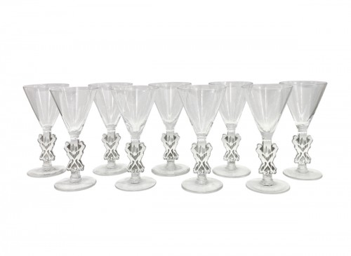1926 Rene LALIQUE - Strasbourg Set  of 9 liquor glasses