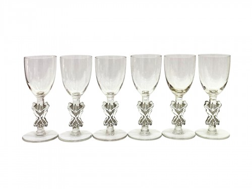 1926 Rene LALIQUE - Set of 6 Strasbourg liquor glasses