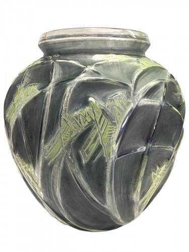 1912 Rene LALIQUE - Vase Sauterelles Frosted Glass Blue and Green Patina