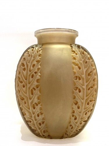1922 Rene Lalique - Vase Chardons in Frosted Glass with Sepia Patina - Glass & Crystal Style Art Déco