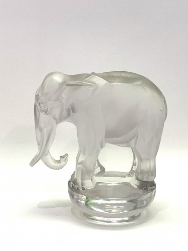 Glass & Crystal  - 1931 Rene Lalique - Paper-Weight Toby Elephant Frosted & Clear Glass