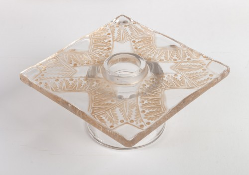 Antiquités - 1943 Rene Lalique - Candlesticks Candle Holders Chantilly Sepia