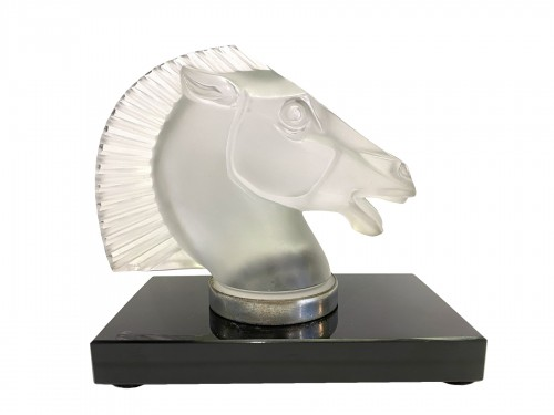 1929 Rene Lalique - Mascot Bookend Longchamp B Frosted Glass on Black Glass