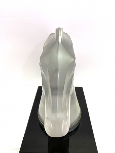 Glass & Crystal  - 1929 Rene Lalique - Mascot Bookend Longchamp B Frosted Glass on Black Glass