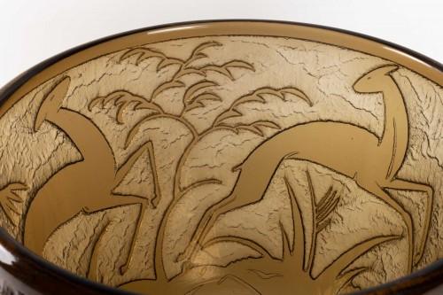 "Glass & Crystal  - Daum - Monumental Vase ""Antilopes et Feuillage"" Topaz Glass Acid-Etched"